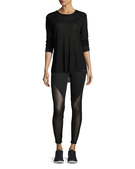 Lucent Mid-Rise Mesh-Panel Athletic Leggings, Black
