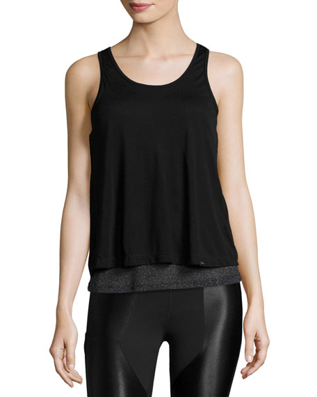 Koral Activewear Shift Open-Back Layered Tank Top, Black/Metallic