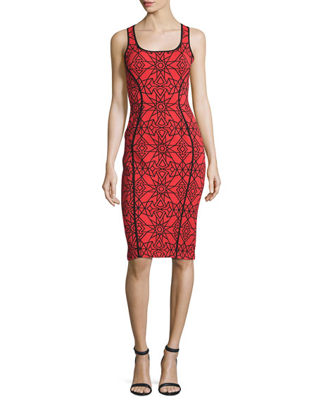 Jovani Sleeveless Two-Tone Printed Sheath Dress, Red/Black