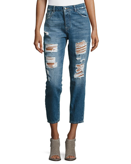 DL1961 Premium Denim Goldie High-Rise Tapered Jeans, Shredded