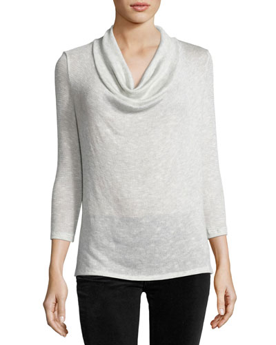 Estee Cowl-Neck 3/4-Sleeve Sweater, Gray