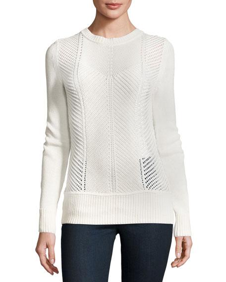 J Brand Sweetszer Silk-Cotton Sweater, Ivory