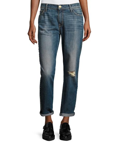Current/Elliott The Fling Cropped Boyfriend Jeans w/Studs,