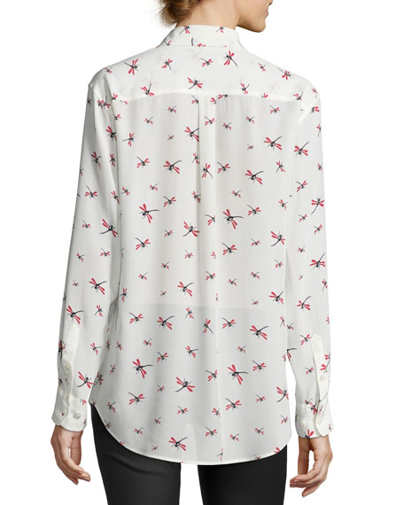 Equipment dragonfly signature silk shirt white for Equipment signature silk shirt