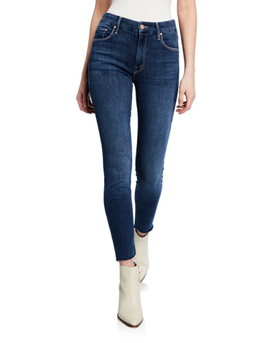 The Looker Ankle Fray Girl-Crush Denim Jeans, Blue