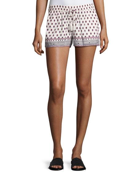 Avia Printed Cotton Drawstring Shorts, Red