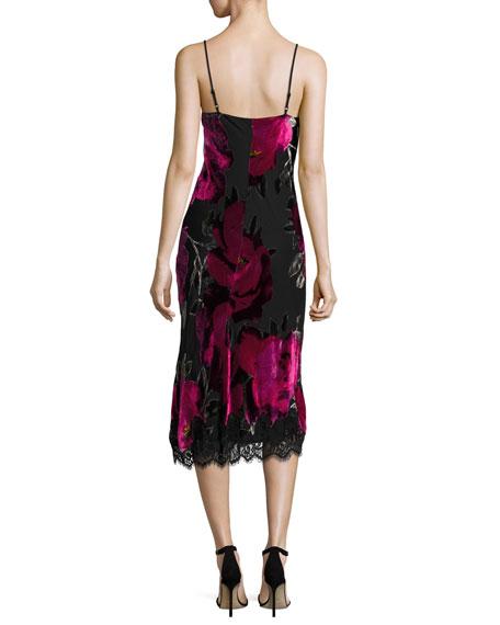 Cabaret Sleeveless Floral Midi Dress, Black