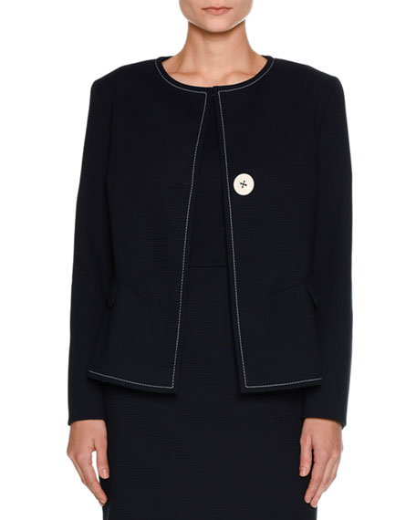 Ottoman-Knit One-Button Jacket, Navy