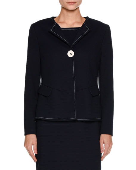 Piazza Sempione Ottoman-Knit One-Button Jacket, Navy