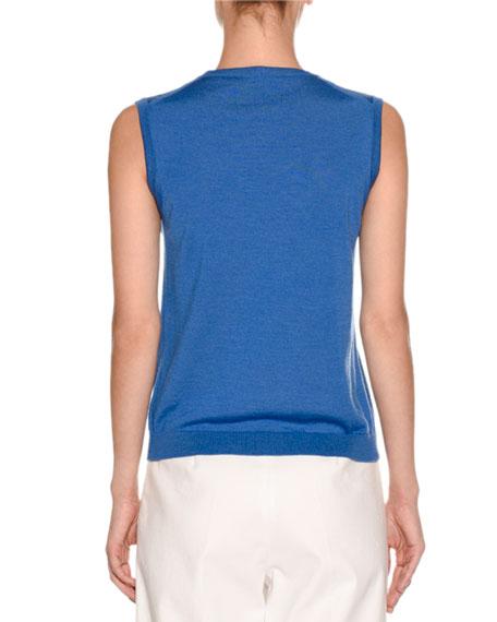 Sleeveless Crewneck Sweater, Cobalt
