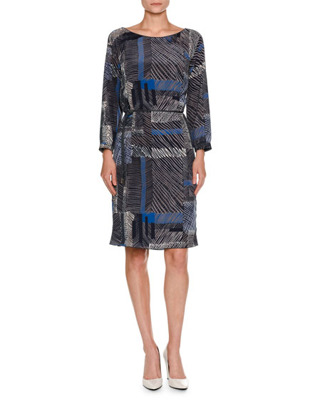 Piazza Sempione Grid-Print Belted Long-Sleeve Dress, Navy