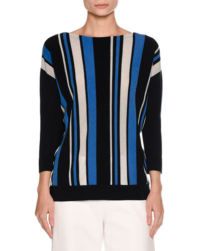 Striped Boat-Neck Top, Navy
