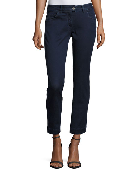 Five-Pocket Cropped Jeans, Navy