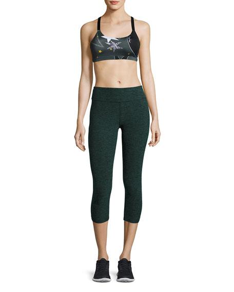 Space-Dye Capri Sport Leggings, Black/Evergreen