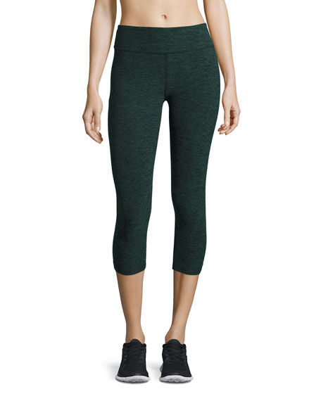 Beyond Yoga Space-Dye Capri Sport Leggings, Black/Evergreen
