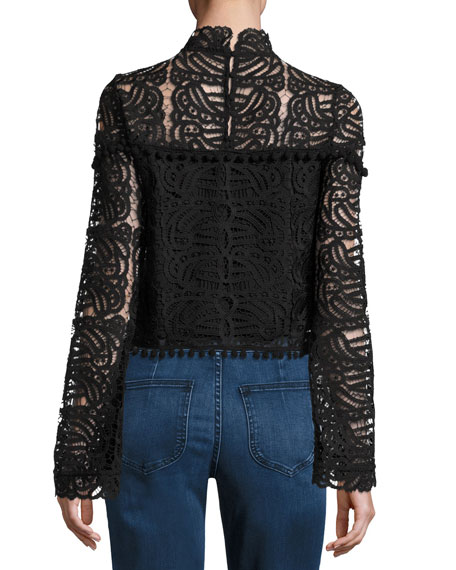 Tularosa Holly High-Neck Lace Top, Onyx