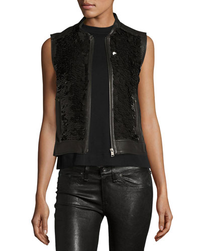 Binah Sequined Leather Vest, Black