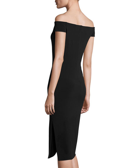 Francella Off-the-Shoulder Fitted Midi Dress