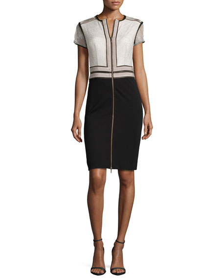 Catherine Deane Wender Jersey Dress, Black/Opal/Gray