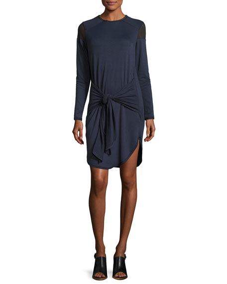 Elie Tahari Teddi Mesh-Trim Tie-Waist Jersey Dress, Blue