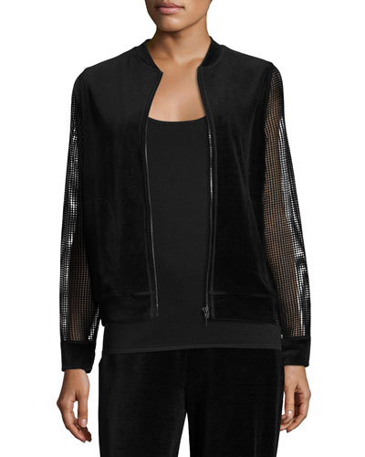 Kimmy Zip-Front Velour Bomber Jacket, Black