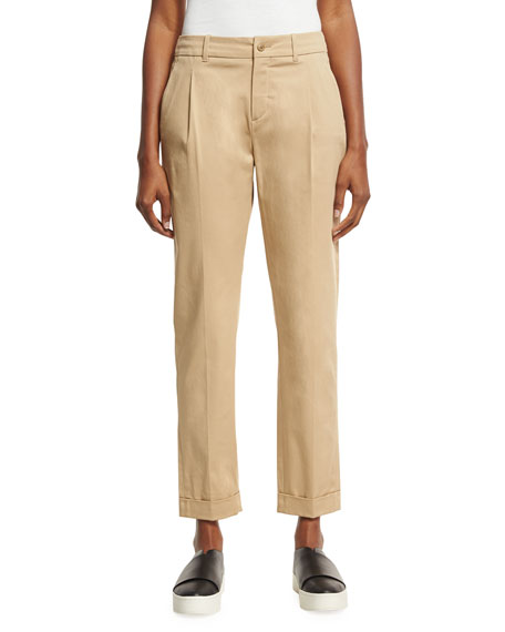 Loro Piana Marcus Pleated Ankle Pants, Light Brown