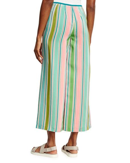 Layton Striped Wide-Leg Pants, Aloe Green/Multi