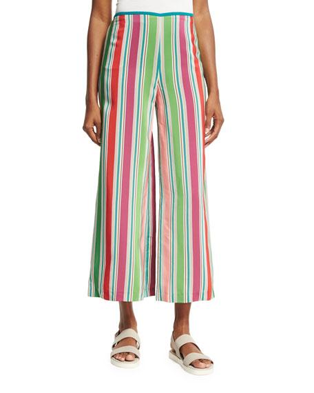 Loro Piana Layton Striped Wide-Leg Pants, Aloe Green/Multi
