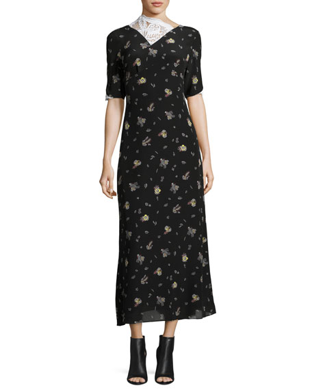 Wheat-Print Short-Sleeve Silk Dress with Lace Inset, Black/White