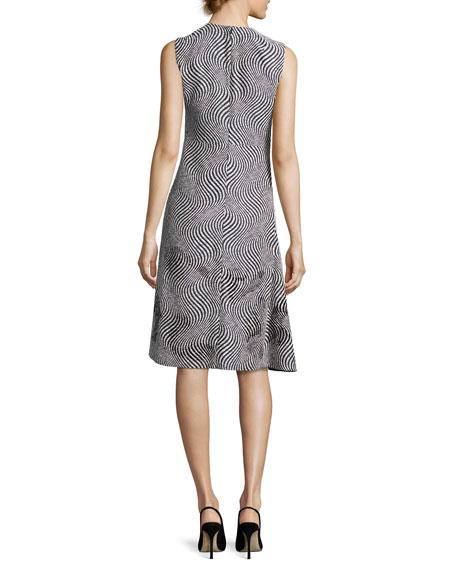 Optic Jacquard Embellished A-Line Dress, Black/White