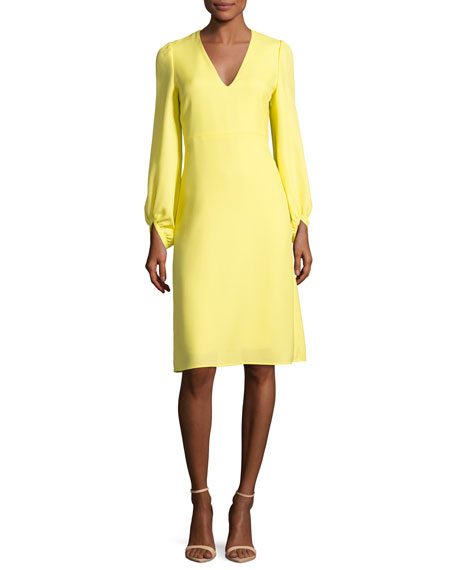Strappy-Back Full-Sleeve A-Line Dress, Yellow