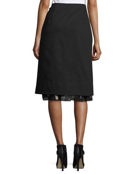 2-in-1 Floral A-Line Skirt, Black