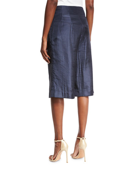 Striped Satin Culotte Pants, Navy