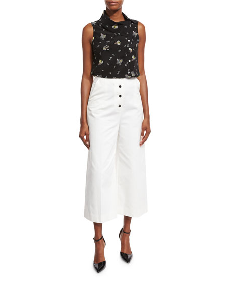High-Waist Button-Front Cropped Pants, White