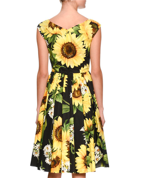 Sunflower-Print Sleeveless V-Neck Dress, Black/Yellow