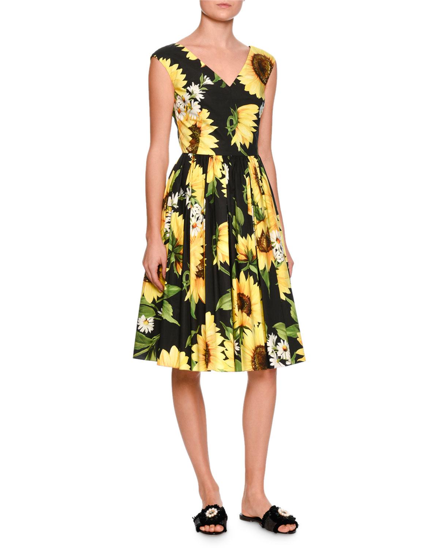 dd0c6ba825eb Dolce & Gabbana Sunflower-Print Sleeveless V-Neck Dress, Black/Yellow