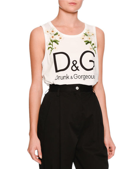 Dolce & Gabbana Daisy Logo Sleeveless Top, White