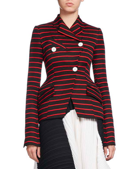 Striped Double-Breasted Blazer, Multi