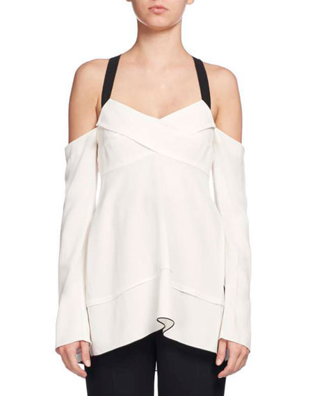 Cold-Shoulder Crisscross Tunic Blouse, White