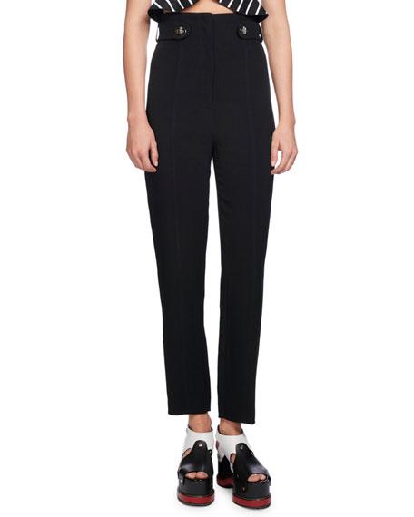 High-Waist Pencil-Leg Pants, Black