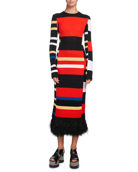 Striped cotton-blend knit dress Proenza Schouler Low Price Fee Shipping rxNoZ