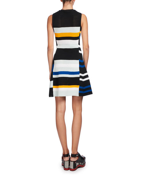 Variegated-Stripe Sleeveless A-Line Dress, Multi