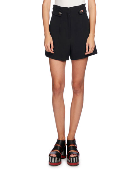 Proenza Schouler High-Waist Button-Tab Shorts, Black