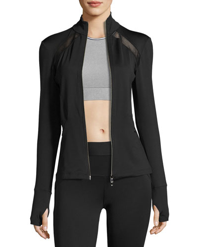 Studio Mesh-Trim Full-Zip Jacket, Black