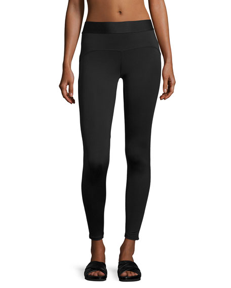 Studio Mesh-Trim Performance Leggings, Black