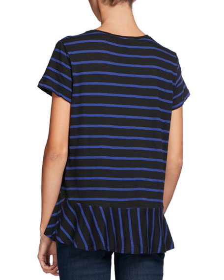 Striped Crewneck Peplum Tee, Blue/Black
