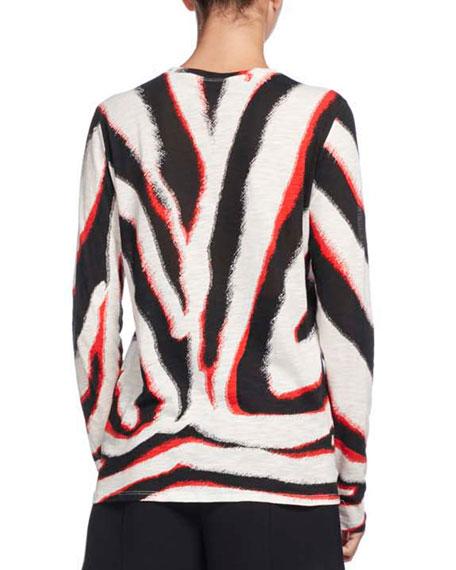 Zebra-Print Long-Sleeve Tee, Multi