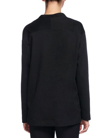 Heart-Cutout Tunic Sweater, Black