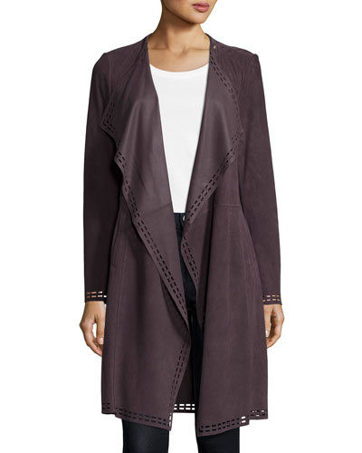 Draped Suede Duster Jacket w/ Laser Cut Border, Mauve