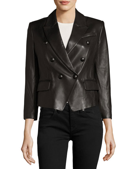 Double-Breasted Cropped Leather Blazer, Black